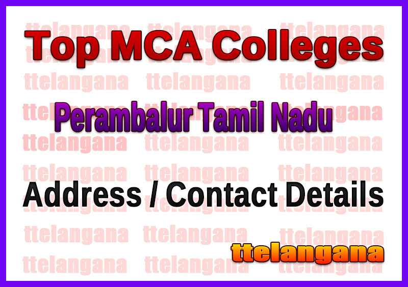 Top MCA Colleges in Perambalur Tamil Nadu