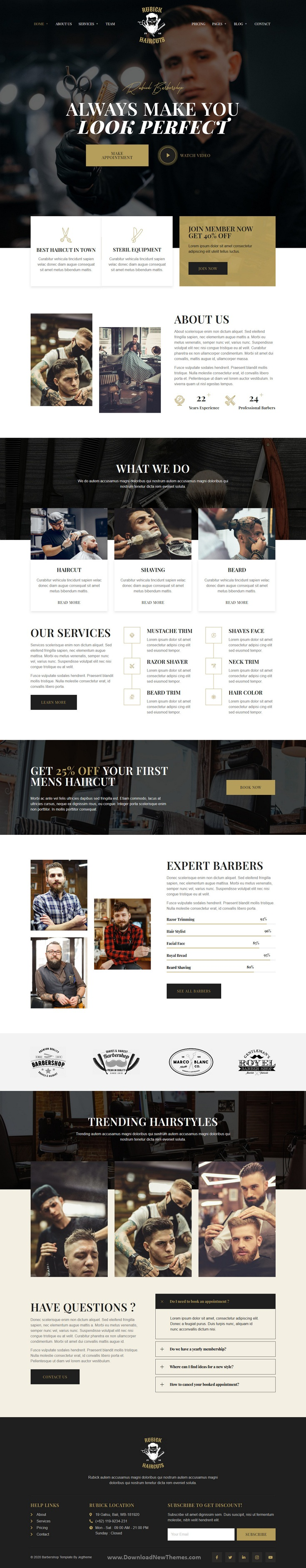 Barbershop and Hair Salon Elementor Template Kit