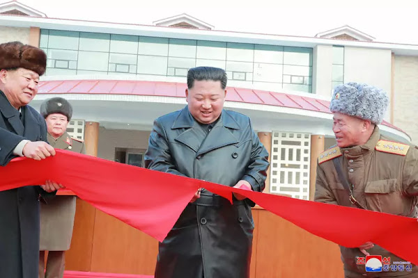 Kim Jong Un cuts Yangdok completion ribbon, December 2019