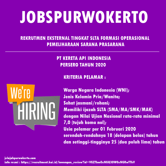 Recruitment Exsternal Tingkat SLTA PT Kereta Api Indonesia