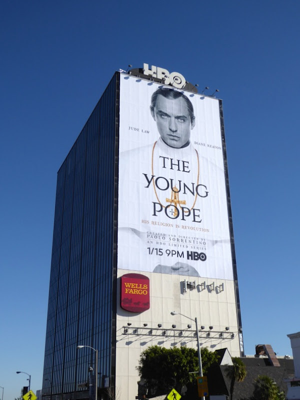 Giant Jude Law Young Pope billboard