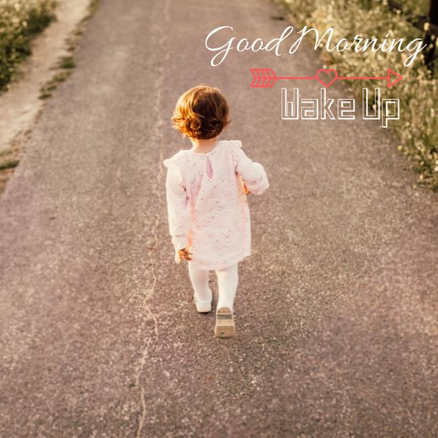 Cute  Baby girl run Good Morning Images