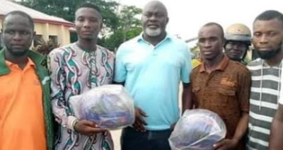 Confusion As Local Gov't Chairman Empowers Youths With Only 2 Helmets (Photos)