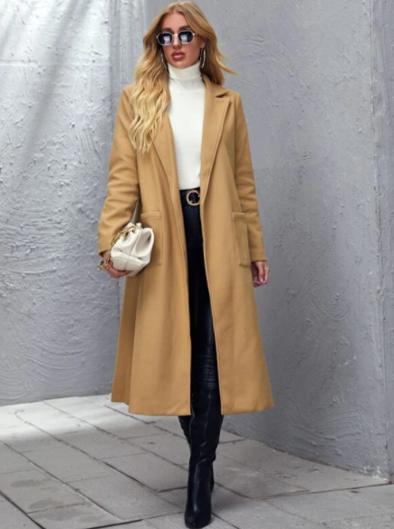 Apricot Belted Overcoat