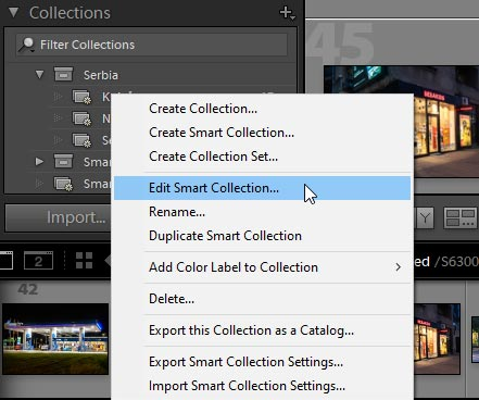 update smart collection in lightroom classic