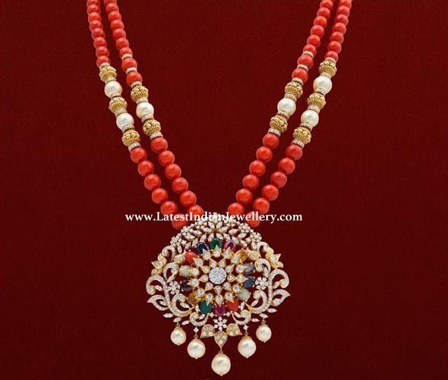 Coral Strings Diamond Pendant
