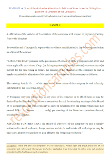 Special Resolution for alteration in articles for Sitting Fees payment