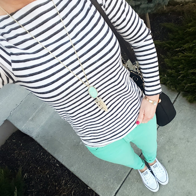 Gap Tee (this year's version) // Banana Republic Jeans (similar) // Converse Tennis Shoes // Kate Spade Pine Street Kori - 50% off! // Kendra Scott Rayne Necklace (c/o Rocksbox, use code WEARITFORLESSXOXO for a free month)