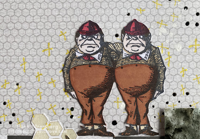 Tweedledum and Tweedledee on art journal page