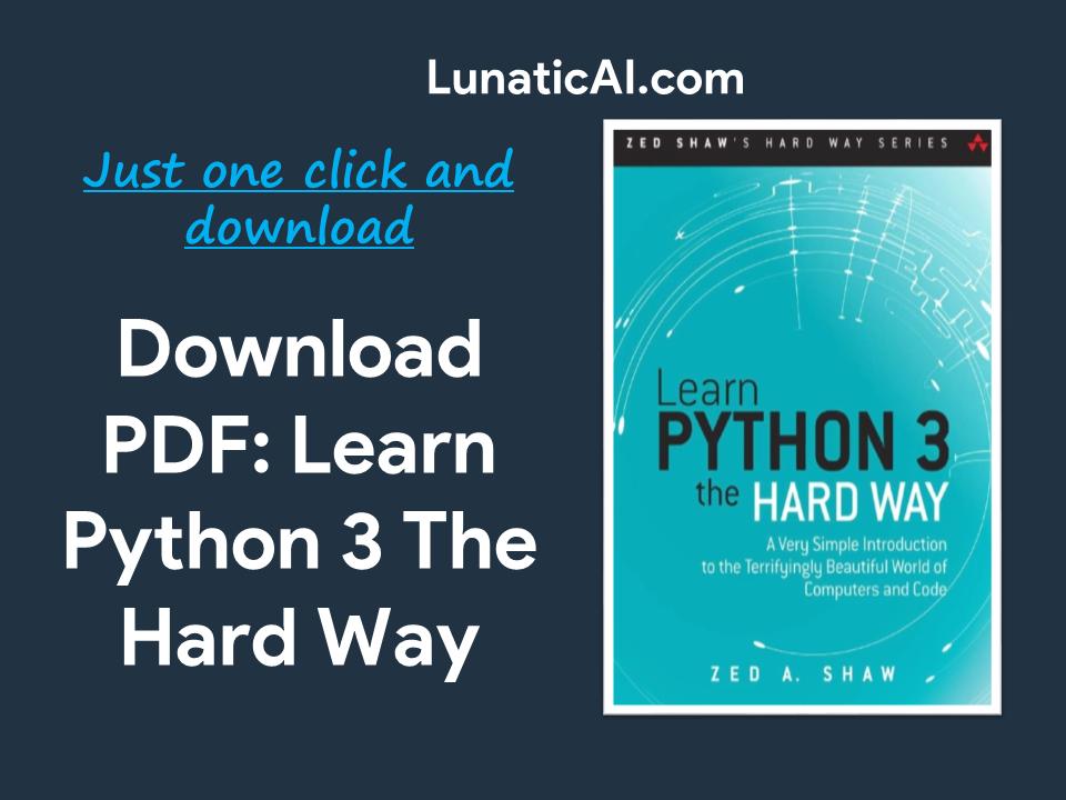 Learn Python 3 the Hard Way PDF Github