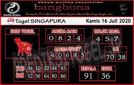Prediksi Bangbona SGP Kamis 16 Juli 2020