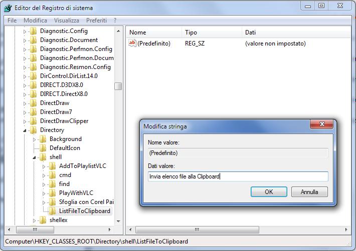 Creazione chiave di registro relativa al menu contestuale