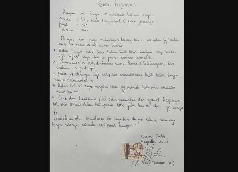 Isi Lengkap Surat Ryan Jombang: Saya Khilaf Ambil Uang Habib Bahar