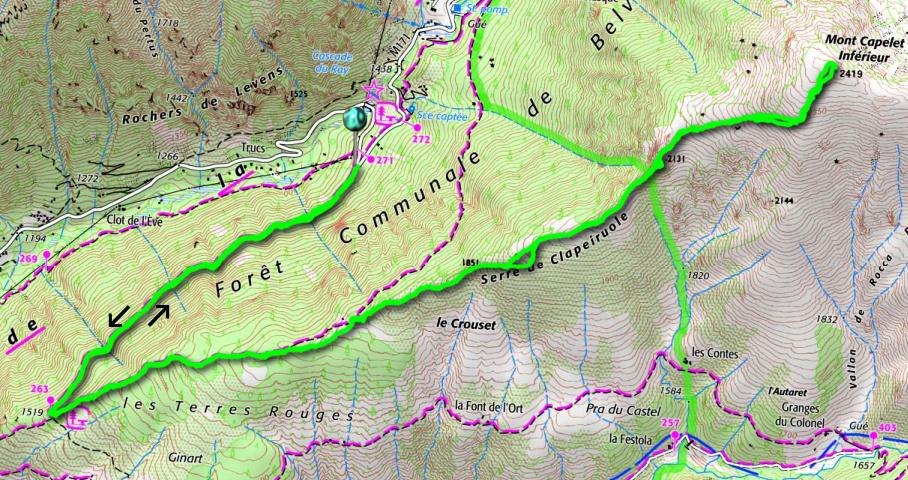 Mont Capelet Inférieur trail track