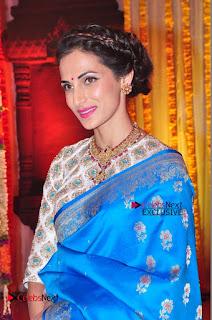 Actress Model Shilpa Reddy Exclusive Stills in Blue Saree at Vijay Karan Aashna Wedding  0029.JPG