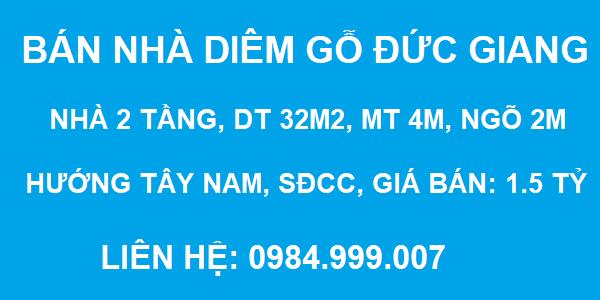 Bán nhà tập thể Diêm Gỗ, Đức Giang, 2 tầng, DT 32m2, MT 4m, giá 1.5 tỷ, 2020