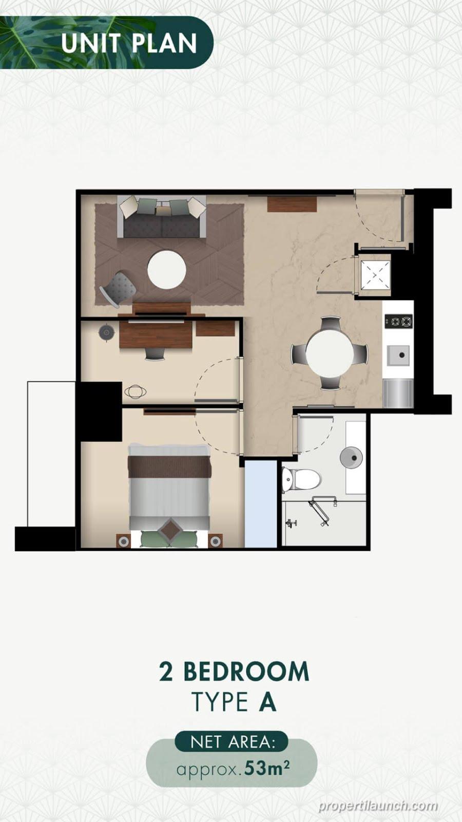 Denah 2BR-A Apartemen Branz Puri Botanical
