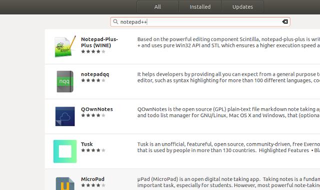 Install Notepad++ di Ubuntu Melalaui GUI (Ubuntu Software)
