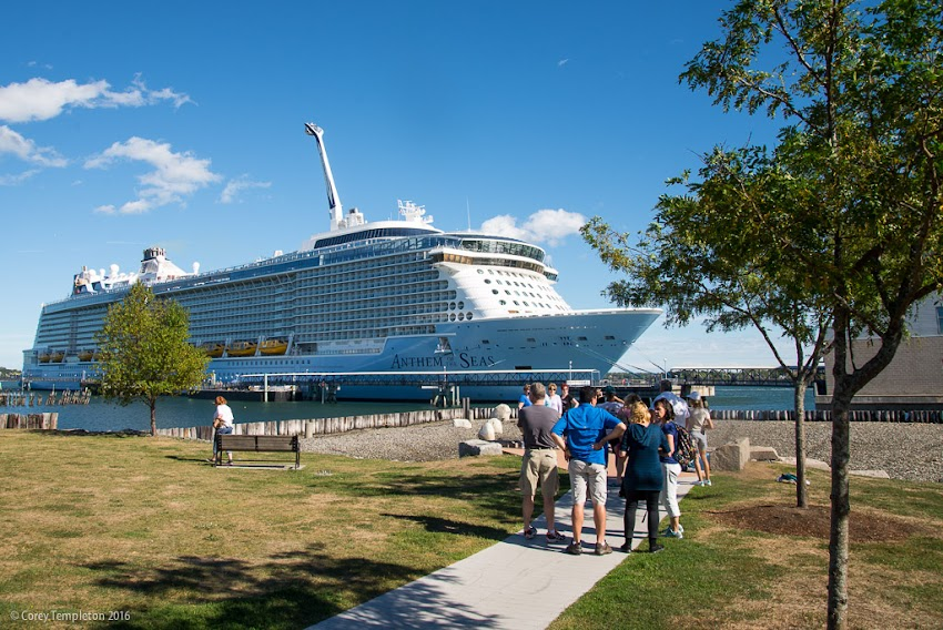 Portland, Maine September 2016 photo by Corey Templeton of Anthem of the Seas Cruise Ship at Ocean Gateway on Casco Bay.