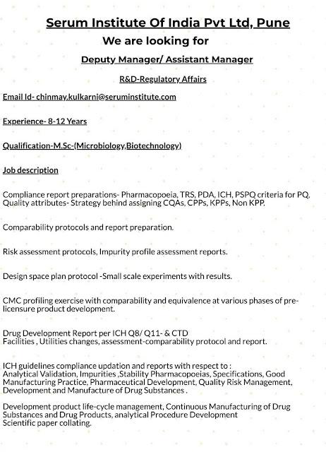 Serum Institute of India Pvt. Ltd - Walk-in interview for Regulatory Affairs - R&D