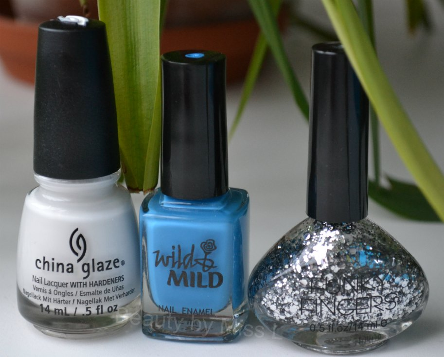 China Glaze White on White, Wild & Mild Blue Nun, Funky Fingers Stage Dive