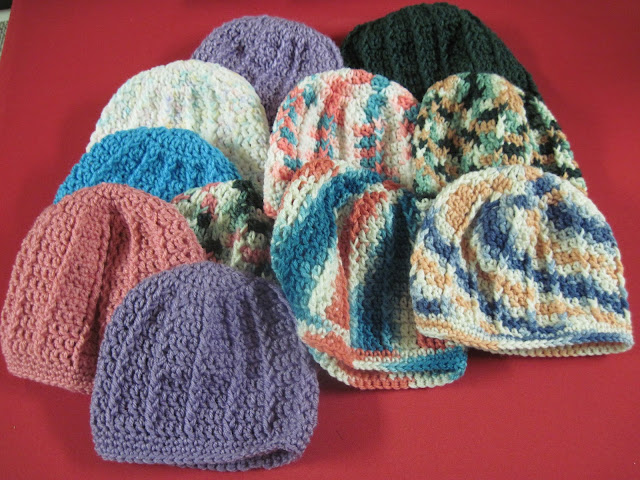 Crocheted Aunt Ida Hats for Operation Christmas Child shoeboxes.