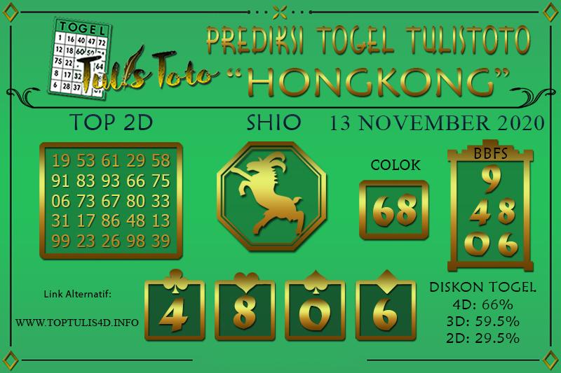 Prediksi Togel HONGKONG TULISTOTO 13 NOVEMBER 2020