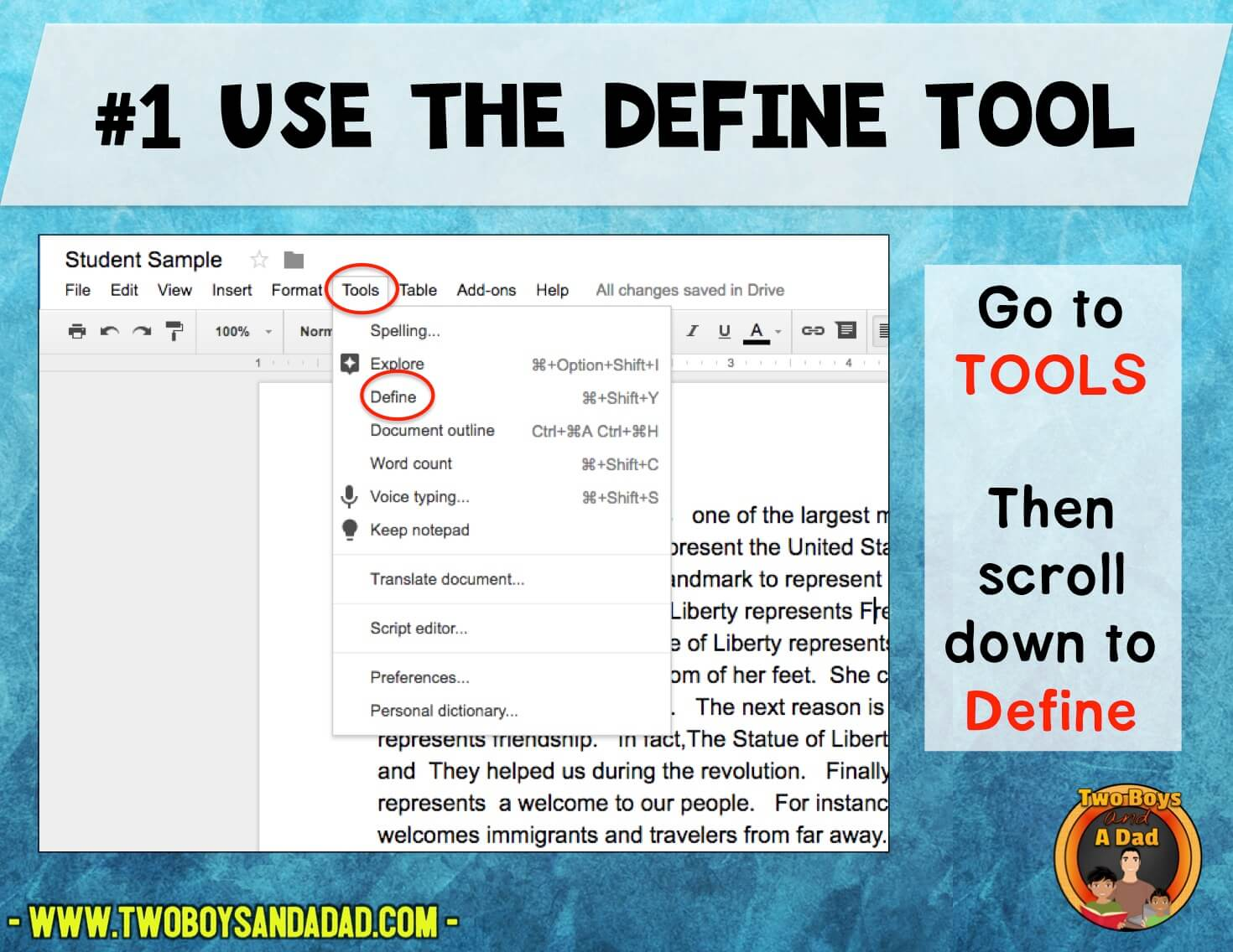 Using the Define Tool