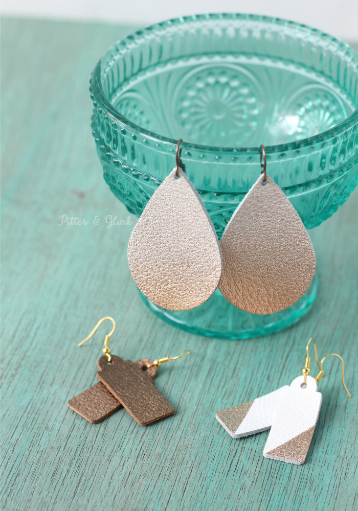 DIY Ombre Color Blocked Leather Earrings