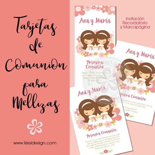 tarjeta comunion hermanitos, mellizos, gemelos, kireidesign