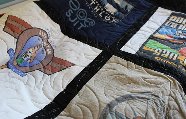 blackberry pantograph on Carol's t-shirt quilt