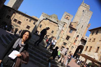Towers of San Gimignano from Piazza della Cisterna