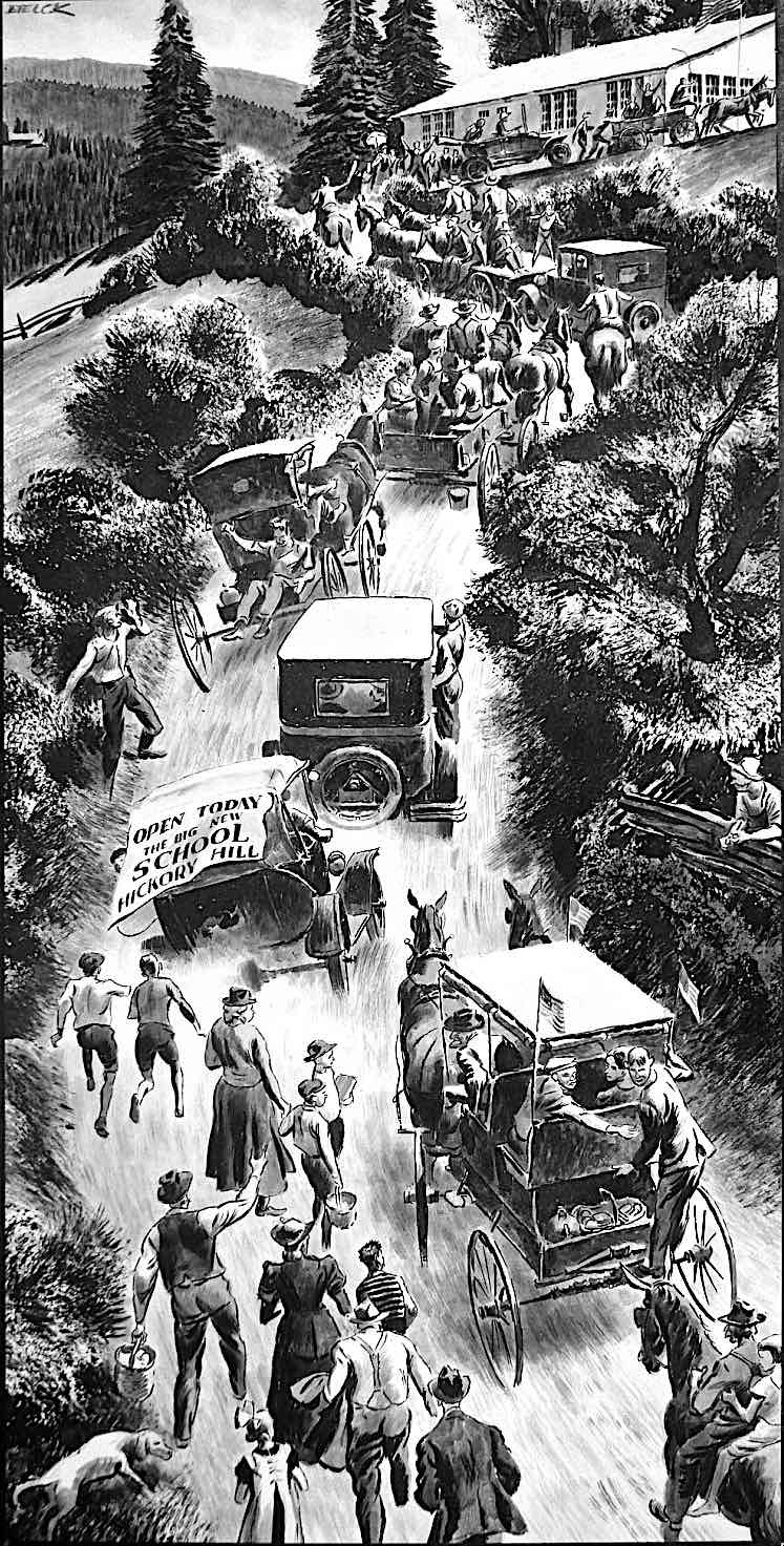 a Peter Helck illustration about a school opening, showing a busy road leading there