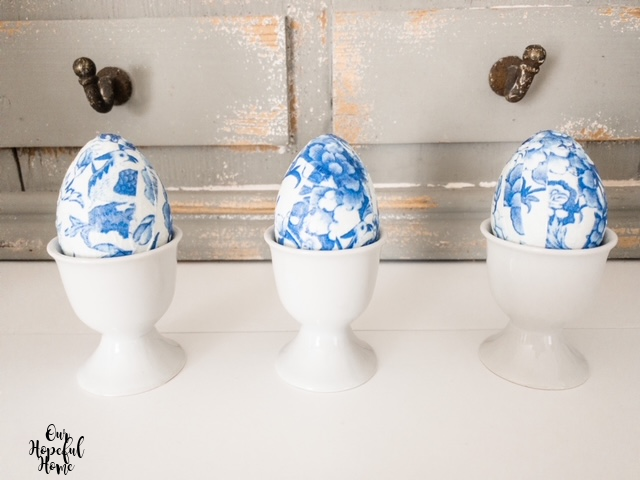 three white porcelain egg cups DIY chinoiserie eggs