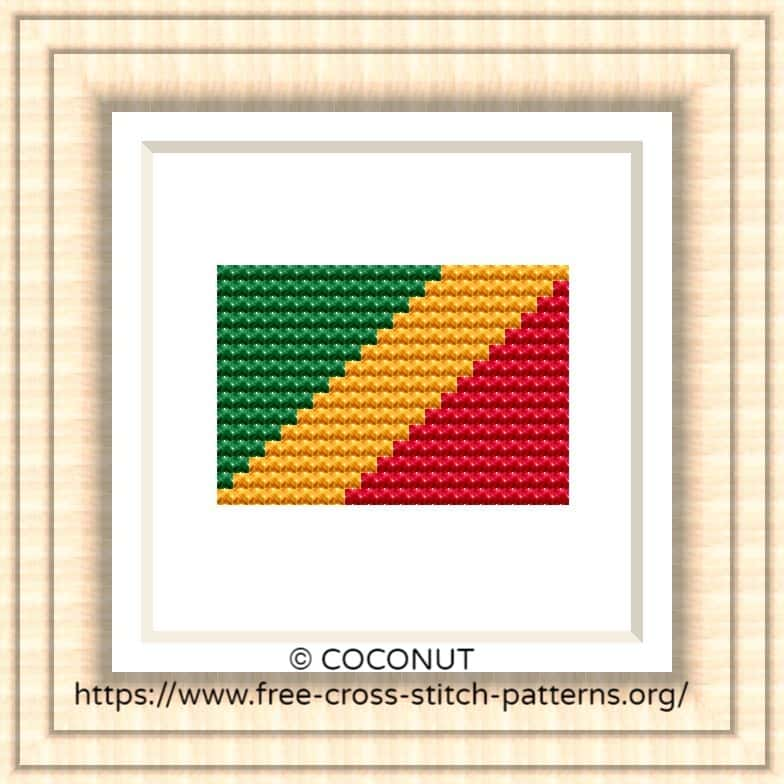 NATIONAL FLAG OF REPUBLIC OF THE CONGO CROSS STITCH CHART