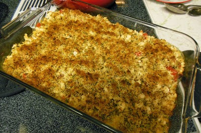 A delicious company worthy, Gratin of White Beans with Cream and Fresh Tomatoes.