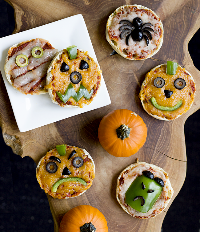 Halloween Themed Mini Veggie Pizzas