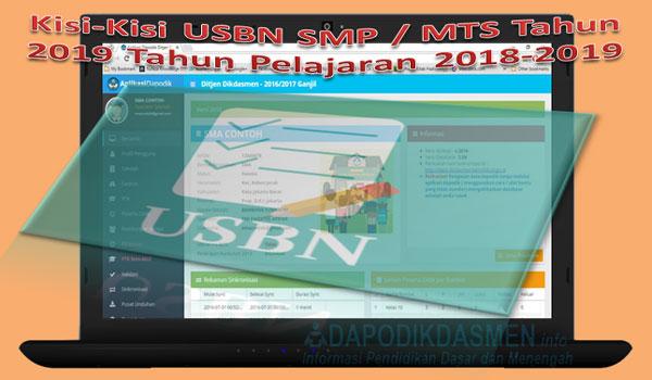 Kisi-Kisi USBN SMP / MTS Tahun 2019 Tahun Pelajaran 2018-2019