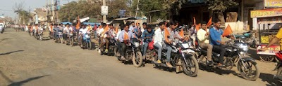 बदरवास में आरएसएस की विशाल बाइक रैली निकली।