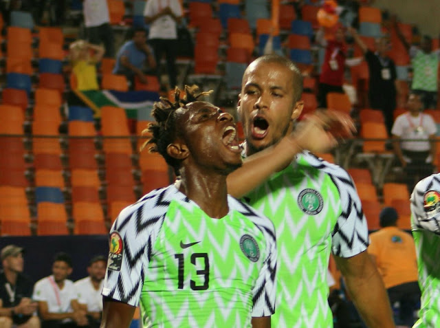 Chukwueze and ekong celebrates Nigeria's first goal against south africa