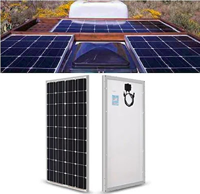 Renogy Solar Panels: 100Watts 12Volts Monocrystalline RV Roof Solar-Energy Board