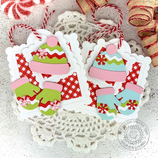 Sunny Studio Stamps: Hats & Mittens Holiday Gift Tags by Angelica Conrad (using Warm & Cozy Dies, Scalloped Square Tag Dies and Holiday Cheer 6x6 Paper)