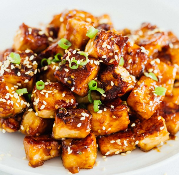 Soy-Brown Sugar Glazed Pan-fried Tofu #vegan #vegetarian
