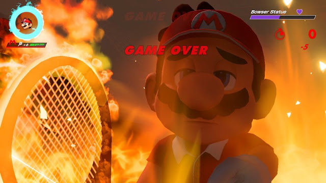 Mario Tennis Aces Bowser Statue boss GAME OVER fire flames
