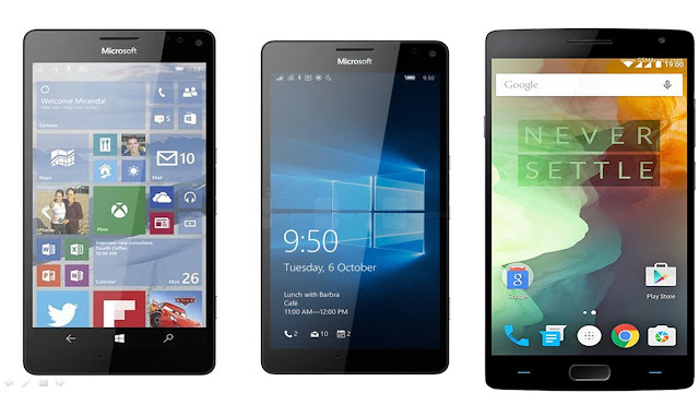Microsoft Lumia 950 XL vs Lumia 950 Windows 10 vs OnePlus 2