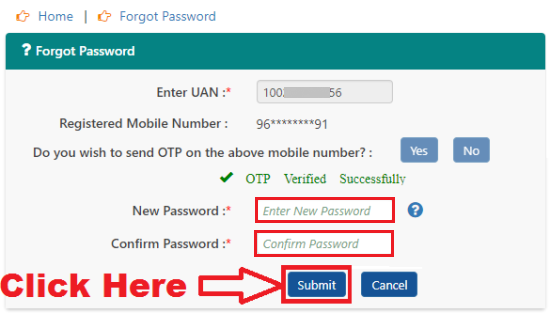 how to reset my epfo login password