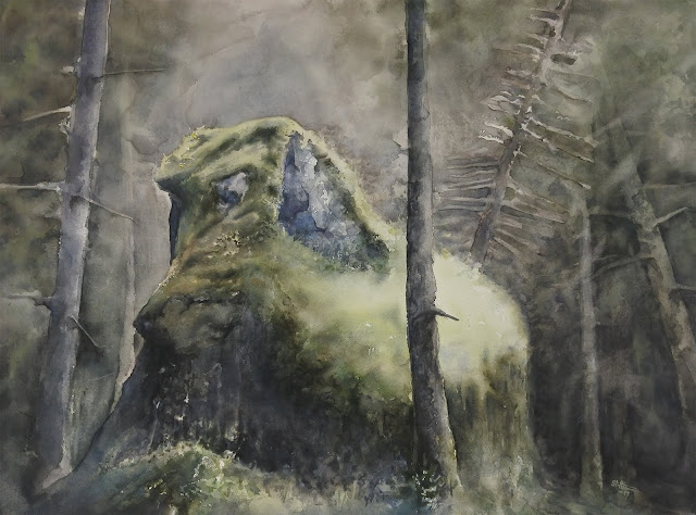 watercolour painting of a rock in the forest light by Adam stolterman