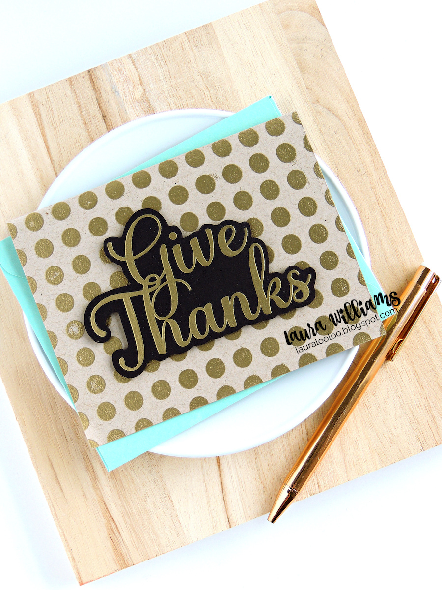 Use just two stamps, a background image and a bold sentiment, to make an elegant thank you card - perfect for Thanksgiving, but all year long too. Click here for ideas to make this elegant handmade card with gold embossing, using Impression Obsession stamps.