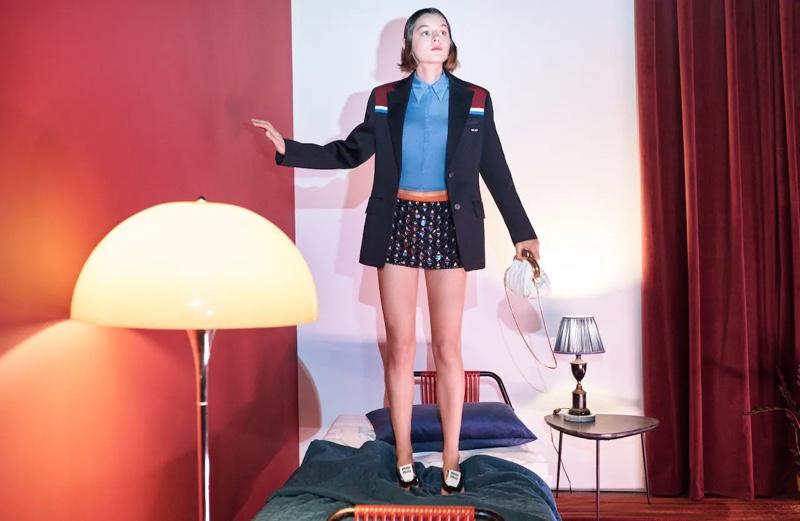 Actress Emma Corrin fronts Miu Miu spring-summer 2021 campaign.