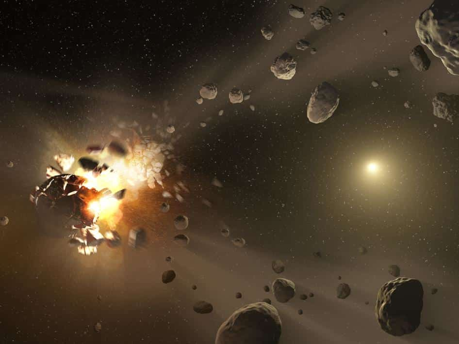 Collision between asteroids in the asteroid belt forming asteroid family